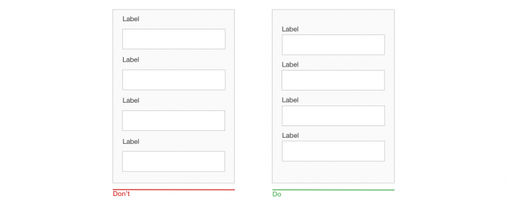 A label and its field should be visually grouped, so that users can understand which label belongs to which field.